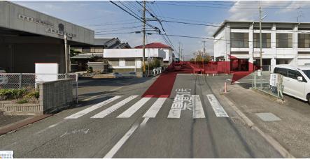 高田消防署東出張所前を右折するイメージ