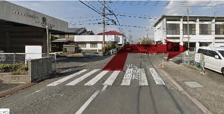 高田消防署東出張所より東方面へ右折するイメージ